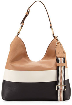 Tory Burch Duet Striped Leather Hobo Bag - CARDAMOM - STYLE