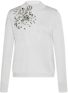 DELPOZO Sequin-Embroidered Mock Neck Top