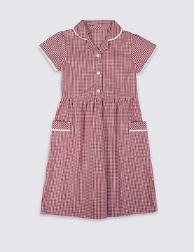 Marks and Spencer Checked Pure Cotton Dress (3-14 Years)