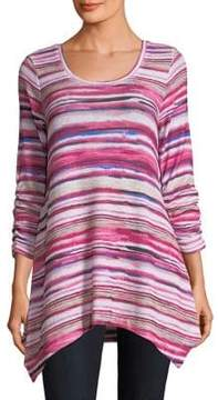Context Ruched-Sleeve Striped Blouse
