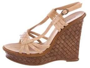 Bottega Veneta Leather Wedge Sandals