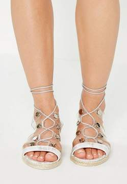 Missguided White Transparent Straps Flat Sandals