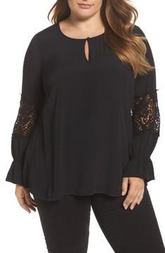Daniel Rainn Plus Size Women's Bell Sleeve Lace Top