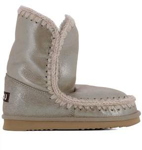 Mou Women's Beige Leather Ankle Boots.