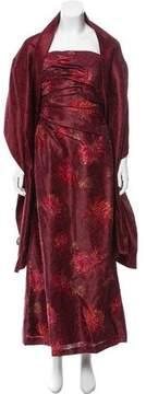 Carmen Marc Valvo Jacquard Embellished Dress