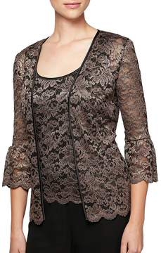 Alex Evenings Bell-Sleeve Metallic Lace Twinset