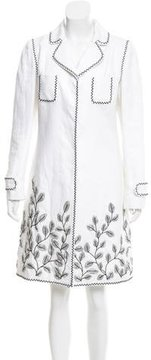 Andrew Gn Floral-Accented Linen Coat