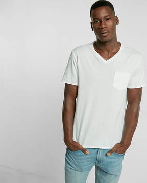 Express Raw Edge Short Sleeve V-Neck Tee