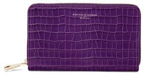 Aspinal of London Midi Continental Clutch Zip Wallet In Deep Shine Amethyst Small Croc
