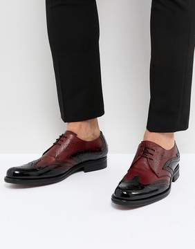 Jeffery West Cordioni Mixed Leather Brogue Shoes In Black