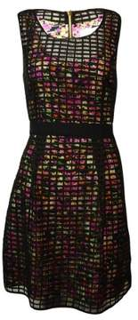 Jessica Simpson Women's Printed Sheer Grid A-Line Dress (10, Black Multi)