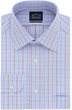 Eagle Men's Classic/Regular Fit Stretch Collar Non-Iron Burgundy and Blue Check Dress Shirt