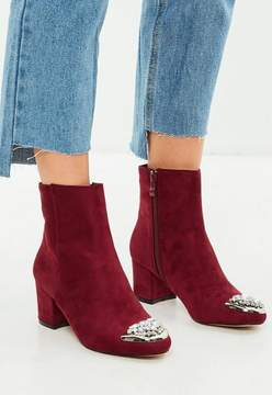 Missguided Burgundy Embellished Toe Ankle Boots
