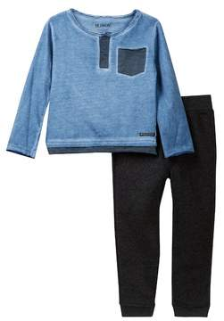 Hudson Jersey Henley Top & Fleece Pants 2-Piece Set (Toddler Boys)