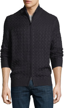 Neiman Marcus Wool-Blend Cable-Knit Zip-Front Cardigan