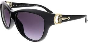 Gucci Women's GG 3711/S 3711S D28/EU Shiny Black/Gold Sunglasses 58mm