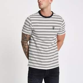 River Island Mens Ecru crew neck stripe print T-shirt