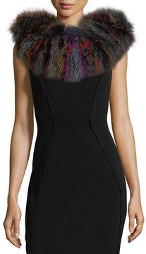 Adrienne Landau Knit Fox Fur Scarf, Multi Pattern