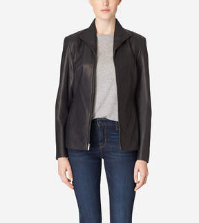 Cole Haan Italian Leather Wing Collar Jacket