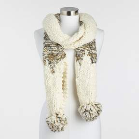World Market Ivory and Green Chunky Knit Scarf