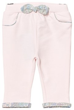 Cyrillus Pale Pink Trousers with Floral Bow and Cuffs