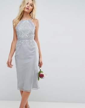 Asos DESIGN Bridesmaid embellished lace insert pencil midi dress