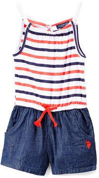 U.S. Polo Assn. Denim & Red Americana Stripes Braided Drawstring Romper - Infant, Toddler & Girls