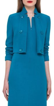 Akris Double-Breasted Wool Short Jacket, Whirlaway