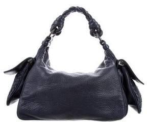 Bottega Veneta Blue Leather Braided Handle Bag