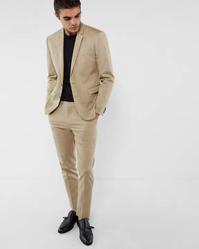 Express Extra Slim Khaki Cotton Sateen Suit Jacket