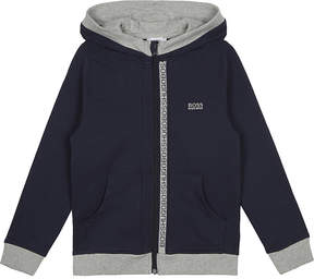 BOSS Logo trim cotton hoody 4-16 years