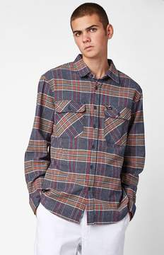 Brixton Bowery Slate Blue Plaid Flannel Long Sleeve Button Up Shirt