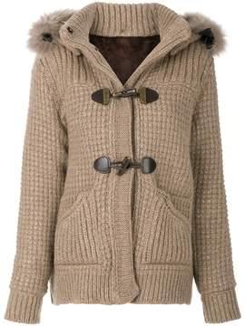 Bark detachable hood chunky cardigan