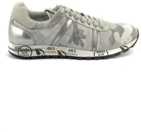 Premiata Lucy Sneaker In Grey Camouflage Nylon With Metallic Leather Details