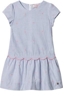Lili Gaufrette Blue Stripe Scallop Edge and Spot Dress