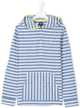 Emporio Armani Kids Teen striped hooded shirt