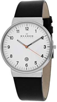 Skagen Ancher SKW6024 Men's Black Leather and Stainless Steel Watch