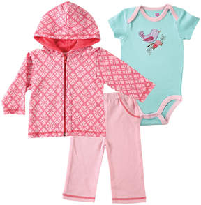 Hudson Baby Hot Pink & Teal Geo-Print Hoodie Set - Infant