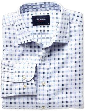 Charles Tyrwhitt Extra Slim Fit White and Blue Double Faced Cotton Casual Shirt Single Cuff Size Small