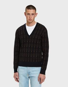 Dries Van Noten V-Neck Sweater in Navy