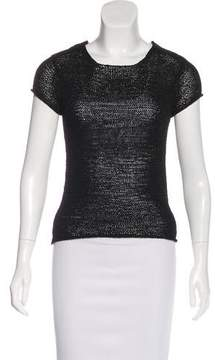 DKNY Open Knit Short Sleeve Top