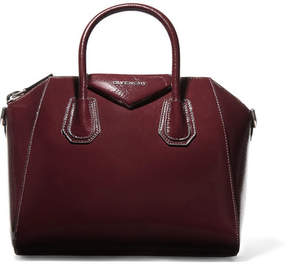 Givenchy Antigona Small Textured Patent-leather Tote - Burgundy