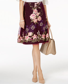 ECI Floral-Embroidered A-Line Skirt
