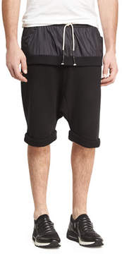 Mostly Heard Rarely Seen Double-Layer Banded Drop-Rise Shorts, Black