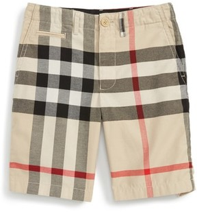 Burberry Boy's Tristen Check Print Cotton Shorts
