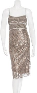 Calvin Klein Collection Metallic Lace Sheath Dress