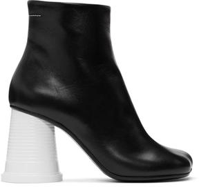 MM6 MAISON MARGIELA Black and White Cup Heel Boots