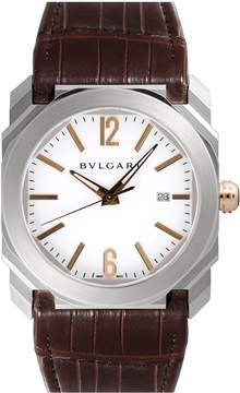 Bvlgari Octo Solotempo White Dial Brown Alligator Leather Men's Watch
