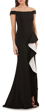 Carmen Marc Valvo Women's Ruffle Off The Shoulder Gown