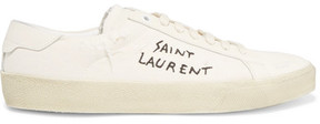 Saint Laurent Court Classic Embroidered Distressed Canvas Sneakers - Off-white